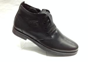 BL - 6897- Ботинки мужские, нат.кожа - нат.мех. цвет чёрный, шнурок и с боку замок, 8 пар размеры с 39-44 (повторные размеры - 41,42) - цена 2300