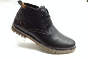 BL - 6900- Ботинки мужские, нат.кожа - нат.мех. цвет чёрный, шнурок и с боку замок, 8 пар размеры с 39-44 (повторные размеры - 41,42) - цена 2350