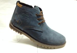 """BL - 6901- Ботинки мужские, нат.нубук - нат.мех. цвет """"джинсовый"""", шнурок и с боку замок, 8 пар размеры с 39-44 (повторные размеры - 41,42) - цена 2350"""