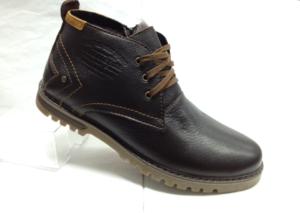 BL - 6902- Ботинки мужские, нат.кожа - нат.мех. цвет чёрный, шнурок и с боку замок, 8 пар размеры с 39-44 (повторные размеры - 41,42) - цена 2350