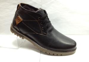 BL - 6905- Ботинки мужские, нат.кожа - нат.мех. цвет чёрный, шнурок и с боку замок, 8 пар размеры с 39-44 (повторные размеры - 41,42) - цена 2350