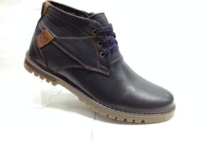 BL - 6909- Ботинки мужские, нат.кожа - нат.мех. цвет синий, шнурок и с боку замок, 8 пар размеры с 39-44 (повторные размеры - 41,42) - цена 2350