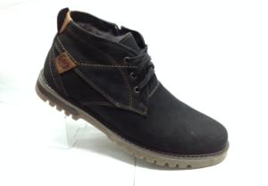 BL - 6910- Ботинки мужские, нат.нубук - нат.мех. цвет чёрный, шнурок и с боку замок, 8 пар размеры с 39-44 (повторные размеры - 41,42) - цена 2350