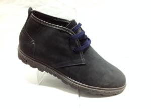 К.К - 6911- Ботинки мужские, нат.нубук - нат.мех. цвет синий, шнурок - без замка, 8 пар размеры с 39-44 (повторные размеры - 41,42) - цена 1900