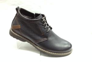 Bad 6912 - Ботинки мужские, нат.кожа - нат.мех. цвет синий, шнурок и с боку замка, 8 пар размеры с 39-44 (повторные размеры - 41,42) - цена 2300