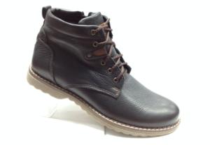 Bad 6913 - Ботинки мужские, нат.кожа - нат.мех. цвет чёрный, шнурок и с боку замка, 8 пар размеры с 39-44 (повторные размеры - 41,42) - цена 2450