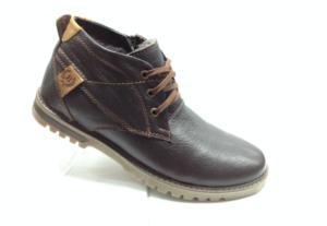 BL - 6914 - Ботинки мужские, нат.кожа - нат.мех. цвет коричневый, шнурок и с боку замок, 8 пар размеры с 39-44 (повторные размеры - 41,42) - цена 2350
