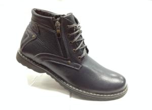 Bad - 6917 - Ботинки мужские, нат.кожа - нат.мех. цвет синий, шнурок и с боку замок, 8 пар размеры с 39-44 (повторные размеры - 41,42) - цена 2400