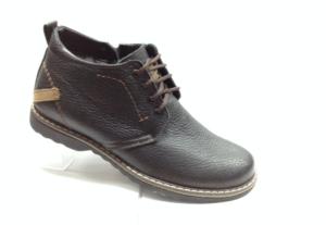 Bad - 6916 - Ботинки мужские, нат.кожа - нат.мех. цвет коричневый, шнурок и с боку замок, 8 пар размеры с 39-44 (повторные размеры - 41,42) - цена 2350
