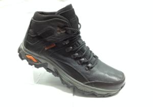 NR - 6923 - Ботинки мужские, нат.кожа - нат.мех. цвет чёрный, без замка, 8 пар размеры с 40-45 (повторные размеры - 41,42) - цена 2600