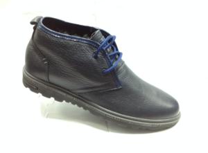 К.К - 6932 - Ботинки мужские, нат.кожа - нат.мех. цвет синий, без замка, 8 пар размеры с 39-44 (повторные размеры - 41,42) - цена 1900