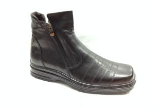 FS - 6934 Ботинки мужские, нат.кожа - нат.мех. цвет чёрный, с боку замок, 8 пар размеры с 39-44 (повторные размеры - 41,42) - цена 1850