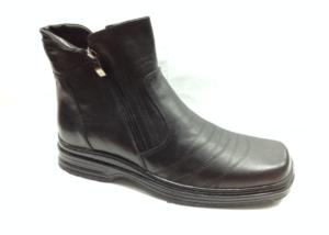 FS - 6936 Ботинки мужские, нат.кожа - нат.мех. цвет чёрный, с боку замок, 8 пар размеры с 39-44 (повторные размеры - 41,42) - цена 1850