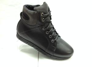 К.К - 6943- Ботинки подростковые, нат.кожа - нат.мех. цвет чёрный, с боку замок, 8 пар размеры с 35-39 (повторные размеры - 36,37,38) - цена 2100