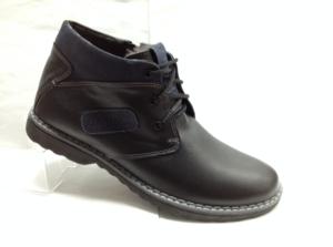 Bad - 6963- Ботинки мужские, нат.кожа - нат.мех. цвет чёрный, с боку замок, 8 пар размеры с 39-44 (повторные размеры - 41,42) - цена 2300