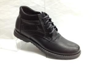 Bad - 6965- Ботинки мужские, нат.кожа - нат.мех. цвет чёрный, с боку замок, 8 пар размеры с 39-44 (повторные размеры - 41,42) - цена 2300