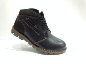 NR - 6976 - Ботинки мужские, нат.кожа - нат.мех. цвет чёрный, с боку замок, 8 пар размеры с 40-45 (повторные размеры - 42,43) - цена 2500