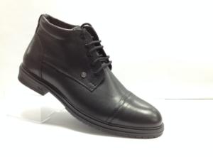 NR - 7064 - Ботинки мужские, нат.кожа - нат.мех. цвет чёрный, с боку замок, 8 пар размеры с 39-44 (повторные размеры - 41,42) - цена 2400