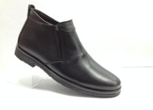 BL - 7067- Ботинки мужские, нат.кожа - нат.мех. цвет чёрный, с боку резинки без замка, 8 пар размеры с 39-44 (повторные размеры - 41,42) - цена 2250