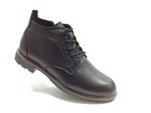 R - 7111 - Ботинки мужские, нат.кожа - нат.мех. цвет чёрный, с боку замок, 8 пар размеры с 40-45 (повторные размеры - 42,43) - цена 2400