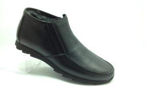 К.К - 7112- Ботинки мужские, нат.кожа - нат.мех. цвет чёрный, с боку замок, 8 пар размеры с 39-44 (повторные размеры - 41,42) - цена 2250