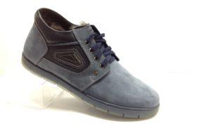 R - 7114- Ботинки мужские, нат.нубук - нат.мех. цвет синий, без замка, 8 пар размеры с 39-44 (повторные размеры - 41,42) - цена 2300