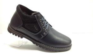 R - 7116 - Ботинки мужские, нат.кожа - нат.мех. цвет синий, без замка, 8 пар размеры с 39-44 (повторные размеры - 41,42) - цена 2300