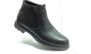 R - 7118 - Ботинки мужские, нат.кожа - нат.мех. цвет чёрный, с боку замок, 8 пар размеры с 40-45 (повторные размеры - 42,43) - цена 2400