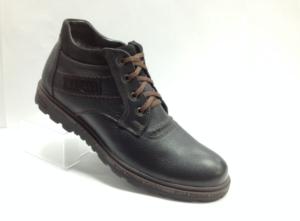 Bad - 7233- Ботинки мужские, нат.кожа - нат.мех. цвет чёрный, с боку замок, 8 пар размеры с 39-44 (повторные размеры - 41,42) - цена 2400