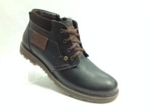 Bad - 7234- Ботинки мужские, нат.кожа - нат.мех. цвет чёрный, с боку замок, 8 пар размеры с 39-44 (повторные размеры - 41,42) - цена 2400