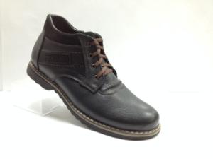 Bad - 7325- Ботинки мужские, нат.кожа - нат.мех. цвет чёрный, с боку замок, 8 пар размеры с 39-44 (повторные размеры - 41,42) - цена 2400