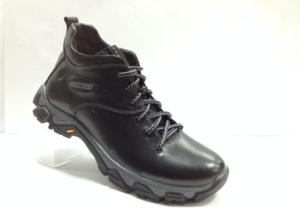 Lot - 7245 Ботинки мужские, нат.кожа - нат.мех. цвет чёрный, без замка, 8 пар размеры с 39-44 (повторные размеры - 41,42) - цена 2300