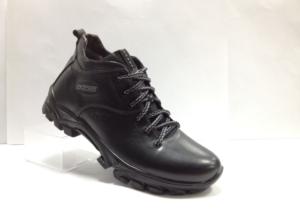 Lot - 7246 Ботинки мужские, нат.кожа - нат.мех. цвет чёрный, без замка, 8 пар размеры с 39-44 (повторные размеры - 41,42) - цена 2300