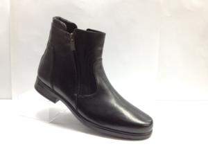 FS - 7250 Ботинки мужские, нат.кожа - нат.мех. цвет чёрный, с боку замок, 8 пар размеры с 39-44 (повторные размеры - 41,42) - цена 1950