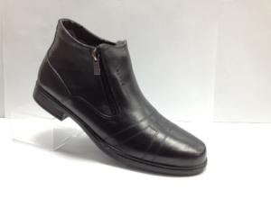 FS - 7251 Ботинки мужские, нат.кожа - нат.мех. цвет чёрный, с боку замок, 8 пар размеры с 39-44 (повторные размеры - 41,42) - цена 1850