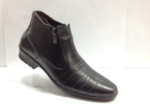 FS - 7253 Ботинки мужские, нат.кожа - нат.мех. цвет чёрный, с боку замок, 8 пар размеры с 39-44 (повторные размеры - 41,42) - цена 1750