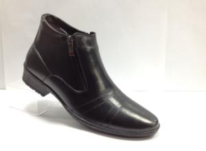 FS - 7254- Ботинки мужские, нат.кожа - нат.мех. цвет чёрный, с боку замок, 8 пар размеры с 39-44 (повторные размеры - 41,42) - цена 1750