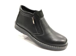 RO -8704 - Ботинки мужские, нат.кожа - нат. мех, цвет чёрный, два замка, 8 пар, размеры с 40 по 45 (повторные размеры - 42,43) - цена 2450 р.