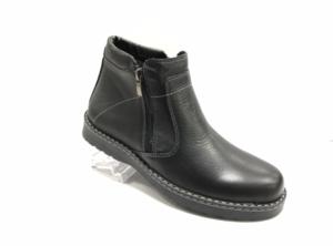 RO -8705 - Ботинки мужские, нат.кожа - нат. мех, цвет чёрный, два замка, 8 пар, размеры с 40 по 45 (повторные размеры - 42,43) - цена 2450 р.