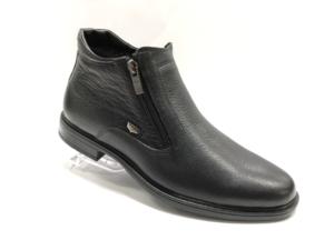FS -8710 - Ботинки мужские, нат. кожа - нат. мех, цвет чёрный, два замка, 8 пар, размеры с 40 по 45 (повторные размеры - 42,43) - цена 2100 р.