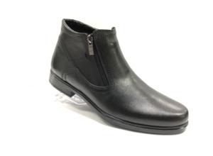 FS -8711 - Ботинки мужские, нат. кожа - нат. мех, цвет чёрный, два замка, 8 пар, размеры с 40 по 45 (повторные размеры - 42,43) - цена 1950 р.