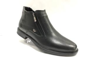 FS -8715 - Ботинки мужские, нат. кожа - нат. мех, цвет чёрный, два замка, 8 пар, размеры с 40 по 45 (повторные размеры - 42,43) - цена 1950 р.