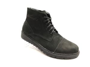Bol -8720 - Ботинки мужские, нат. нубук - нат. мех, цвет чёрный, шнурок-замок, 8 пар, размеры с 40 по 45 (повторные размеры - 42,43) - цена 2400