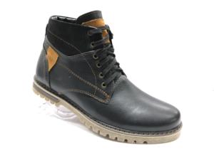 Bol -8724 - Ботинки мужские, нат. кожа - нат. мех, цвет чёрный, шнурок-замок, 8 пар, размеры с 39 по 44 (повторные размеры - 41,42) - цена 2400 р.