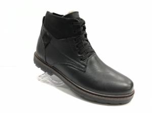 Bol -8728 - Ботинки мужские, нат. кожа - нат. мех, цвет чёрный, шнурок-замок, 8 пар, размеры с 39 по 44 (повторные размеры - 41,42) - цена 2400 р.