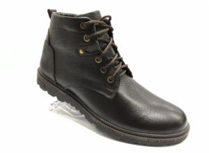 Bad -8733 - Ботинки мужские, нат. кожа - нат. мех, цвет коричневый, шнурок-замок, 8 пар, размеры с 40 по 44 (повторные размеры - 41,42,43 ) - цена 2400 р.