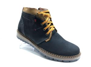 Bad -8741 - Ботинки мужские, нат. нубук - нат. мех, цвет синий, шнурок-замок, 8 пар, размеры с 40 по 44 (повторные размеры - 41,42,43 ) - цена 2400 р.