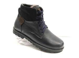MG - 8821 - Ботинки мужские (подростковые) , нат. кожа - нат. мех, цвет чёрный, шнурок-замок, 8 пар, размеры с 36 по 40 (повторные размеры - 37,38,39 ) - цена 2100 р.