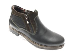 Ec -8860 - Ботинки мужские, нат. кожа - нат. мех, цвет чёрный, два замка, 8 пар, размеры с 39 по 44 (повторные размеры - 41, 42) - цена 2350 р.