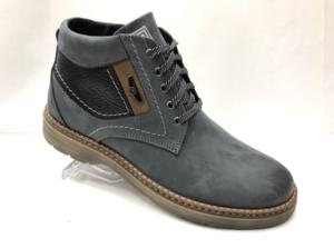 Ec -8872 - Ботинки мужские, нат. нубук- нат. мех, цвет синий, шнурок-замок, 8 пар, размеры с 40 по 45 (повторные размеры - 42, 43) - цена 2450 р.